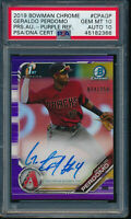 PSA 10/10 GERALDO PERDOMO AUTO 2019 Bowman Chrome PURPLE REFRACTOR /250 GEM MINT