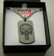 Marvel Comics The Punisher Dog Tag Stainless Steel Necklace Pendant New NOS Box