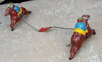 1930's VINTAGE RARE EARLY HAND PAINTED HORSE & JOCKEY PAIR TIN TOY, GERMANY