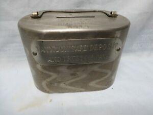 1892 ANTIQUE TAUNTON SAFE DEPOT & TRUST CO METAL COIN BANK,MA MASS,MASSACHUSETTS