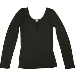Guess Top Womens Size Large 12-14 Black Long Sleeve Pullover Stretch Scoop Neck