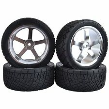 80mm RC 1/10 On-Road Rally Car Tyres Tires & Metal Wheel Rim HPI-WR8 HSP-94177