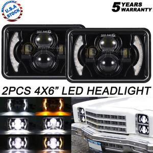 "Pair 4x6"" LED Headlights Hi/Lo Sealed Beam Bulb Headlamps For Chevrolet Camaro"