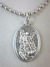 "Catholic Italian St Michael Medal Pendant Necklace 24"" Ball Chain + BONUS BOOK"
