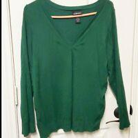Lane Bryant Sweater Size 14/16 Green v-neck lightweight