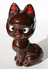 Redware Cat-Kitten Figurine w-Red Nose-Mouth-Ears Hand Painted Made in Japan-VTG