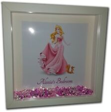 SLEEPING BEAUTY Personalised Diamante Box Frame - Disney Aurora Print and Frame