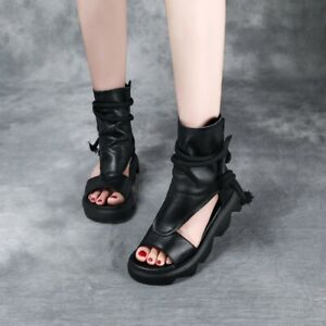 Womens Summer Genuine Leather Open Toe Sandals Boots Cut Out Ankle Boots Black 7