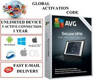 AVG Secure VPN 5 Devices 1 YEAR EU / DE / GLOBAL KEY CODE (EMAIL DOWNLOAD)