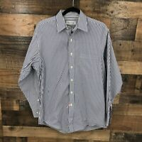 Brooks Brothers Men's Blue And White Stripe 100% Cotton Long Sleeve Button Up