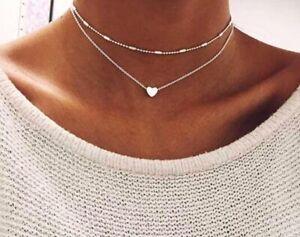 Damen Halskette Herz Geschenk Silber Feine Kette Kettchen Geschenk für Frauen