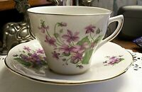 Vintage England Dover China Purple Violet Floral Design Tea Cup Saucer Set