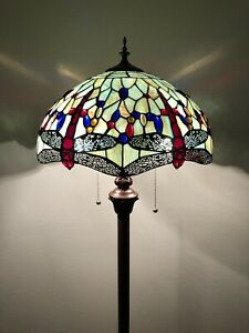 """Enjoy Tiffany Style Floor Lamp Jade Green Stained Glass Dragonfly Vintage 64""""H"""