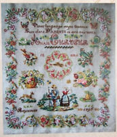 FRENCH ANTIQUE SAMPLER Anais Curveur 1896 CROSS STITCH PATTERN CHART