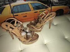Shoe Republic LA Nude Boho Hippie Tribal Feather Fringe Scrappy Heels 10😍