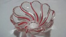 Crystal Peppermint Stripe Red Candy Bowl Dish 5.5""