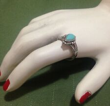 VINTAGE INDIGENOUS AMERICAN STERLING SILVER RING w TURQUOISE - SIZE L 1/4 (6)