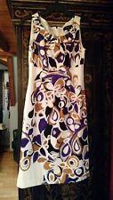 UN JOUR AILLEURS Purple Gold Black Print Dress Sleeveless Plated Neckline UK 8