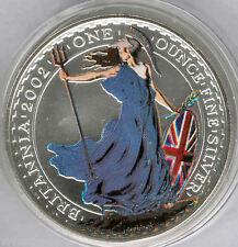 Gran Bretaña 2 Libras 2002 @ 1 onza plata fina @ Relieve anverso esmaltado @@