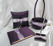 Eggplant Plum Silver Flower Girl Basket Ring Bearer Pillow Guest Book Pen Set