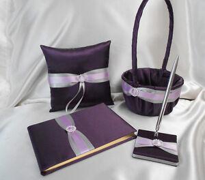 Eggplant Plum Silver Flower Girl Basket Ring Bearer Pillow Guest Book Pen Set