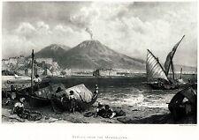 NAPOLI DA MERGELLINA.Castel dell'Ovo.Vesuvio.Scugnizzi.Pescatori.Capolavoro.1880