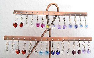 Kristall Ohrhänger *verschiedene Farben* mit SWAROVSKI ® Kristallherzen 10mm