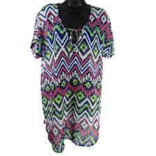 Francesca's Multi-Color Sheer Aztec Short Sleeve Swim Cover Up Dress Size M/L