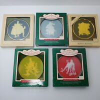 HALLMARK Keepsake Cameo Christmas Ornament NORMAN ROCKWELL Lot of 5 from 1980's