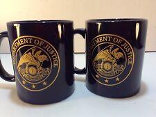 Set Of 2 U.S Department of Justice Coffee/Tea Mug Blue&Gold Seal 11oz