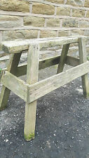 Vintage Antique Rustic Trestle Table Base Bench Wooden Solid Wood Leg Stand