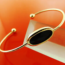 BANGLE BRACELET REAL 18K YELLOW G/F GOLD BLACK ONYX CUFF BEAD DESIGN FS3A887