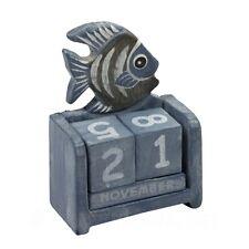 Wooden Fish Perpetual Calendar - Shabby Chic Wooden Calendar - Blue Seashore
