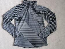 Nike Running Girl  1/4 Zip Pullover Dri-Fit Top Black/Gray Stripe size M *VGUC