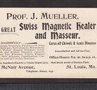 The Great Magnetic Healer Masseur Prof J Mueller Quack Cancer Scam St Louis Card