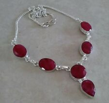 """NATURAL RED OVAL KASHMIR RUBY 925 STERLING SILVER NECKLACE 22"""" HANDMADE JEWELRY"""