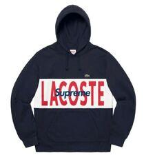 Supreme LACOSTE Logo Panel Hooded Sweatshirt M medium bleu marine neuf