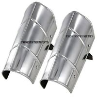 Armor Greaves Medieval Functional Knights Leg Armour Steel Chorme Finish