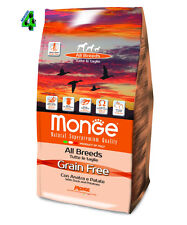 MONGE GRAIN FREE Anatra e Patate 12 kg all breed medium maxi per cane cani