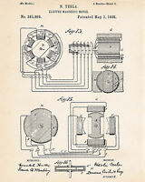 1888 Nikola Tesla Inventions Electromagnetic Motor Generator Patent Art Drawings