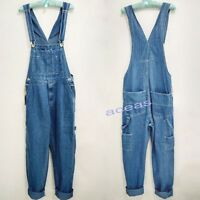 Casual Fat Men's Washed Denim Loose Pants Overalls Suspender Trousers Work Jeans