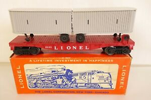 LIONEL POSTWAR #6440 RED FLAT CAR WITH PIGGY BACK VANS-MINT IN ORIGINAL BOX!