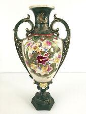 LARGE Antique ceramic vase 1850's 1860's Japan - green white multi