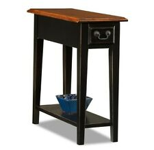 Small End Table with Storage Drawer Shelf Living Room Black and Oak Sofa Side