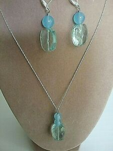 Aquamarine, blue chalcedony and blue topaz set necklace and earrings in silver