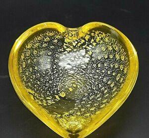 MCM Murano Vintage Yellow With Silver Aventurine Bowl/Ashtray Heart Shape