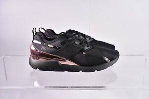 Size 8 Women's PUMA Muse X-2 Metallic Sneakers 370838-01 Black/Rose Gold