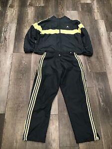 Adidas Women's Vintage Track Suit Wind Suit Jacket & Pants Size L Gray/yellow