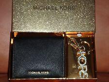 MICHAEL KORS 2-PC SET Womens MK Black Saffiano Wallet Gold Pendant Keychain +BOX