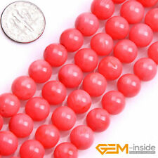 """Pink Red Coral Gemstone Round Beads For Jewelry Making Strand 15"""" Wholesale"""